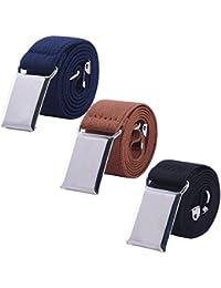 Toddler Boy Kids Buckle Belt - Adjustable Elastic Child Silver Buckle Belts, 3 Pieces