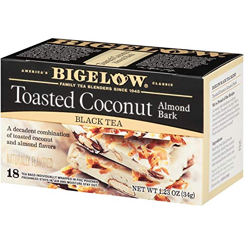 Bigelow Tea Toasted Coconut Almond Bark 18Count (Pack of 6) Caffeinated Individual Black Tea Bags, for Hot Tea or Iced Tea, Drink Plain or Sweetened with Honey or Sugar