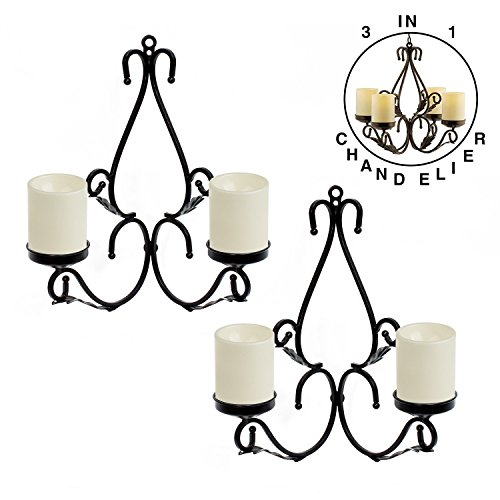 GiveU 3 IN 1 Lighting Chandelier, Metal Wall Sconce Set of 2, Table Centerpiece for Indoor or Outdoor, Chain and Candles Included, Black by GiveU (Image #1)