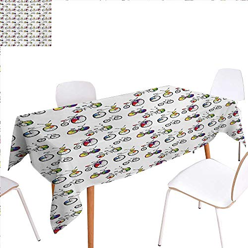 familytaste Bicycle Rectangular Tablecloth Hand Drawn Penny-Farthing Tandem and City Bikes with Colored Rims Cartoon Style Oblong Wrinkle Resistant Tablecloth 54