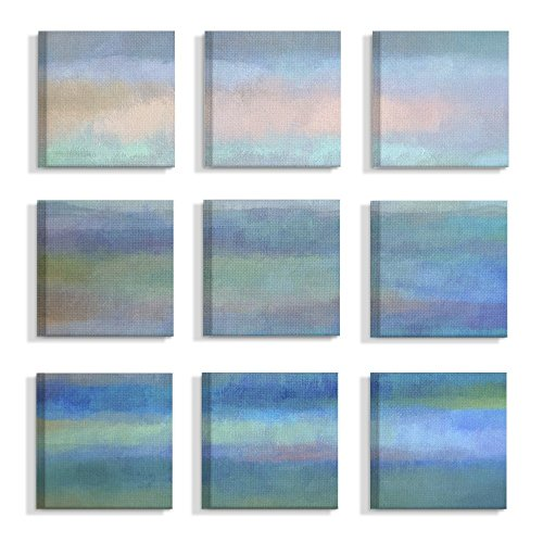 "The Stupell Home Decor Collection"" Gentle Abstract Blue Water Paint Splash Stretched Canvas Wall Art, Multicolor made in New England"