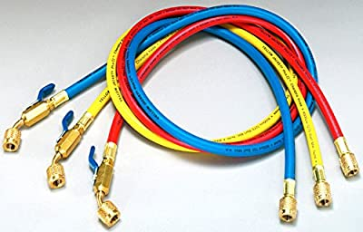 """Ritchie Engineering Co., Inc. / YELLOW JACKET 29984 48"""" 3-PAK Yellow, Blue, Red, Plus II Hose with Compact Ball Valve End"""