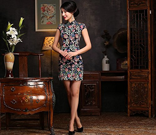 ACVIP Vestito Cinese Retrò Stile Vestito da Mini a Fiori Rossi