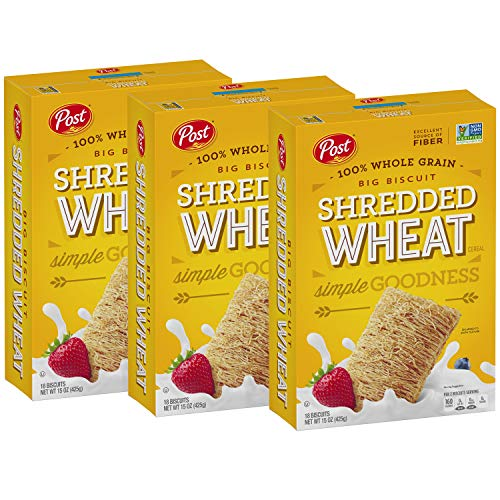 Post Shredded Wheat Cereal, Original Big Biscuit, 100% Whole Grain, No Sugar or Salt Added, 15-Ounce Box (Pack of 3) (Cereals With No Added Sugar Or Salt)