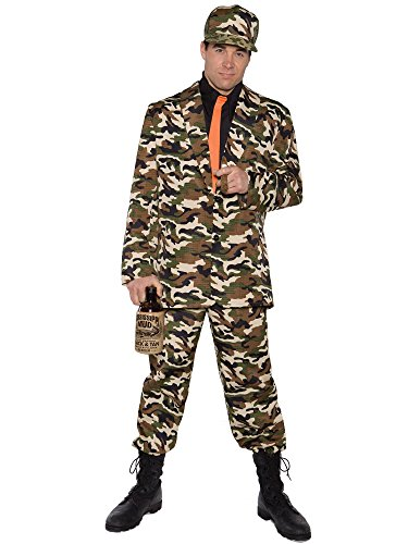 Hillbilly Wedding Costume (Underwraps Costumes Men's Funny Bayou Costume - Bayou Beau, Camo/Black/Orange, One Size)