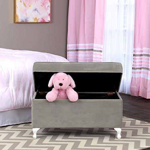 HomePop Diva Youth Velvet Decorative Storage Bench with White Wood Legs, Grey by HomePop (Image #4)