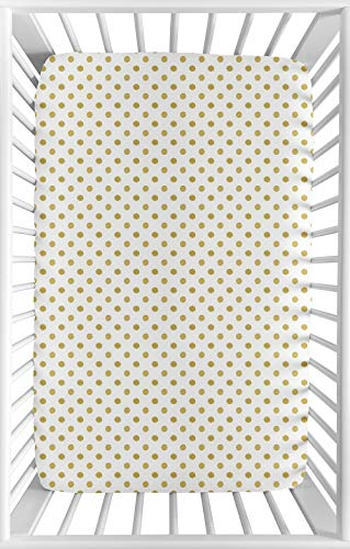 Sweet Jojo Designs Gold and White Polka Dot Baby Girl Fitted Mini Portable Crib Sheet for Amelia Collection - for Mini Crib or Pack and Play ONLY (White Crib Sheet With Gold Polka Dots)
