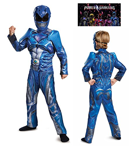 Faerynicethings Child Size Blue Power Ranger Movie Classic Muscle Costume - Medium 7-8 -