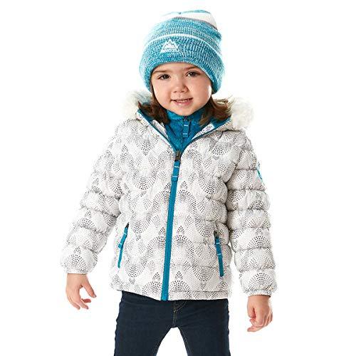 - Snozu Girl's Hypoallergenic Puffy Down Jacket with Beanie White Mosaic