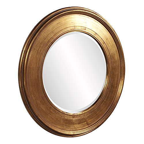 Howard Elliott Valor Round Hanging Wall Or Vanity Mirror, Gold Leaf, 37 Inch