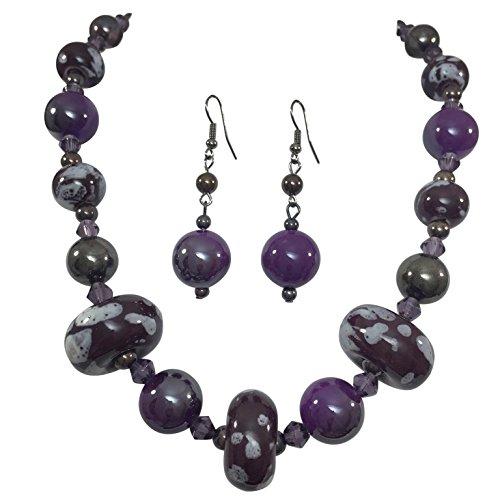 Simple Single Strand Ceramic Beaded Necklace & Dangle Earrings Set - Earrings Ceramic Set