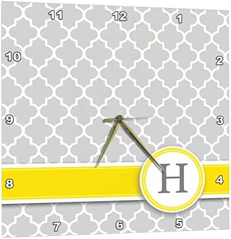 3dRose Your Personal Name Initial Letter H – Monogrammed Grey Quatrefoil Pattern – Personalized Yellow Gray – Wall Clock, 13 by 13-Inch DPP_154574_2