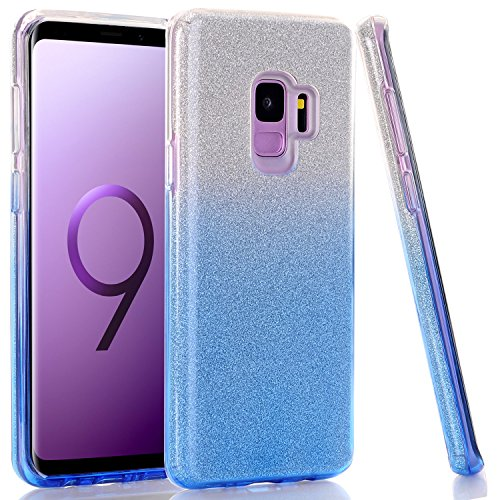 (Galaxy S9 Case, WALAGO Clear Blue Gradient Bling Glitter Sparkle Three Layer Shockproof Soft TPU Outer Cover + Hard PC Inner Protective Shell Skin for Samsung Galaxy S9)
