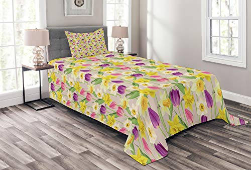 Lunarable Daffodils Bedspread Set Twin Size, Tulip and Daffodil Flowers Stems and Leaves Summertime Vintage Artwork, Decorative Quilted 2 Piece Coverlet Set with Pillow Sham, Purple Yellow Green
