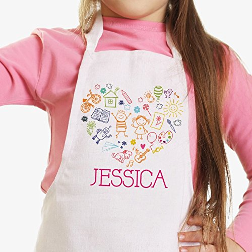 (Personalized Direct Happy Heart Personalized Kids Craft Apron)