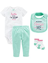 Baby Girls' 4-Piece Bodysuit, pant, Bib and Sock Set