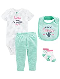 Simple Joys by Carter's Girls' 4-Piece Bodysuit, Pant, Bib and Sock Set