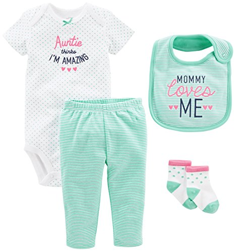 Simple Joys by Carter's Baby Girls' 4-Piece Bodysuit, Pant, Bib and Sock Set, Mint Auntie, 6-9 Months