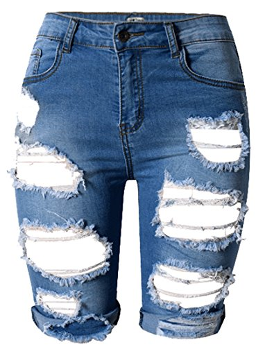 OLRAIN Womens High Waist Ripped Hole Washed Distressed Short Jeans 12 Blue