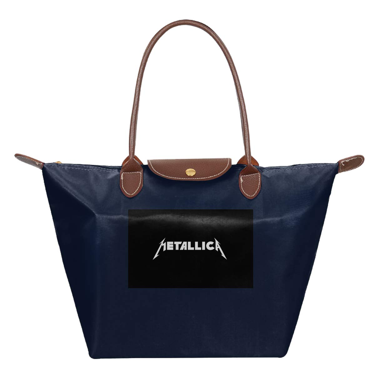 Metallica Waterproof Leather Folded Messenger Nylon Bag Travel Tote Hopping Folding School Handbags