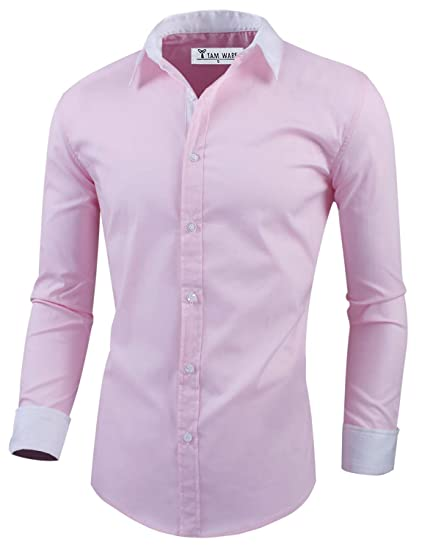 66e01258 TAM WARE Mens Classic Slim Fit Oxford Plain Longsleeve Shirt TWTBMS03-PINK-S  at Amazon Men's Clothing store: