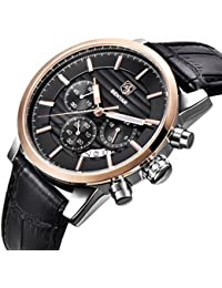 Chronograph Waterproof Watches Business and Sport Design Black Leather Band Strap Wrist Watch for Men (L Rose Gold Black B)