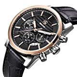 ویکالا · خرید  اصل اورجینال · خرید از آمازون · BENYAR Chronograph Waterproof Watches Business and Sport Design Black Leather Band Strap Wrist Watch for Men (L Rose Gold Black B) wekala · ویکالا