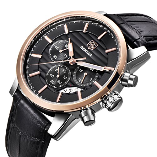 Design Black Leather (BENYAR Chronograph Waterproof Watches Business and Sport Design Black Leather Band Strap Wrist Watch for Men (L Rose Gold Black B))