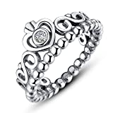 F&F Ring 925 Sterling Silver My Princess Queen Crown Stackable for Women Wedding Rings