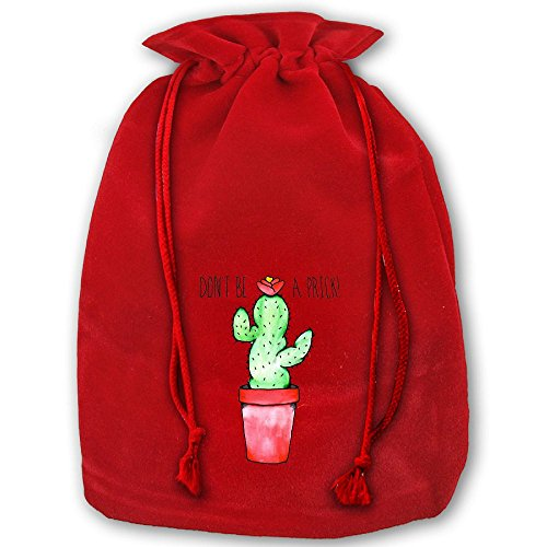 Don't Be Cactus Red Christmas Drawstring Bags / Santa's Trouser Bag/ Christmas Gift by TTIWEP