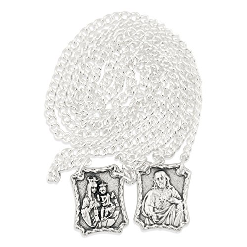 Venerare Scapular with Engraved Medal of Jesus & Our Lady of Mount Carmel, Made in Italy
