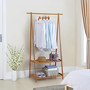 Finnhomy Bamboo Clothes Rack Portable Extra Large Garment Rack 2-Tire Storage Box Shelves For Entryway and Bed Room…