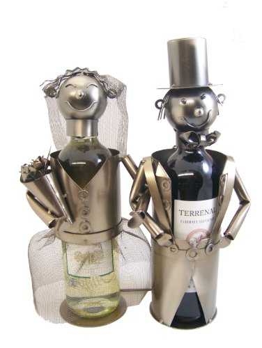 Bride and Groom Wedding Metal Figurine Wine Bottle Holder -- 14'' X 10'' X 6'' by 3Star Mfg