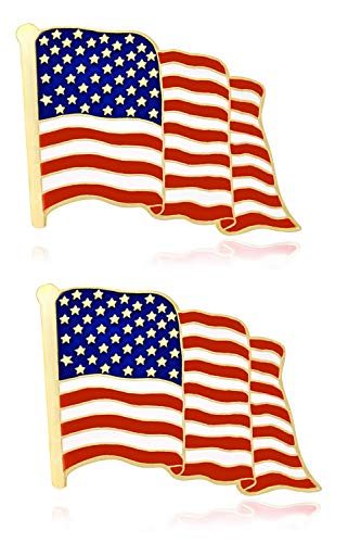 American Flag Lapel Pins Veterans Day Decorations -2Piece Usa Flag -