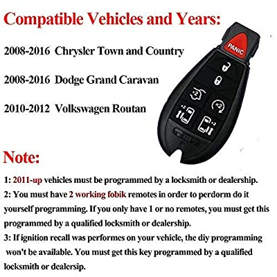 SaverRemotes 7 Button Key Fob Compatible for 2008-2015 Chrysler Town and Country, 2008-2014 Dodge Grand Caravan: Car Electronics