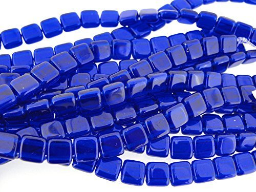 Cobalt Square Beads - Czechmate 6mm Square Glass Czech Two Hole Tile Bead - Cobalt by CzechMate