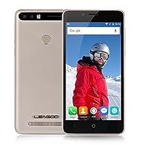 Leagoo Kiicaa Power Smartphone 3G Android 7.0 (MTK6580A Quad Core 1.3GHz , 5.0'' HD Schermo, 2GB RAM 16GB ROM, 5MP + 5MP + 8MP Camera, Fingerprint ID, Dual SIM, 4000mAh Batteria) Oro
