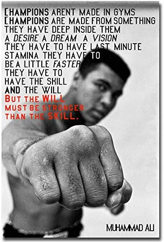 Muhammad Ali 5 American Boxer Poster Motivation Sport Quote Black White Photo