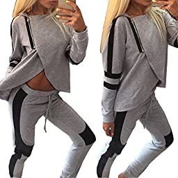 Bodycon4U Women\'s Strech Tracksuit Sweat Suit Workout Yoga Sport Hoodie and Pant Set