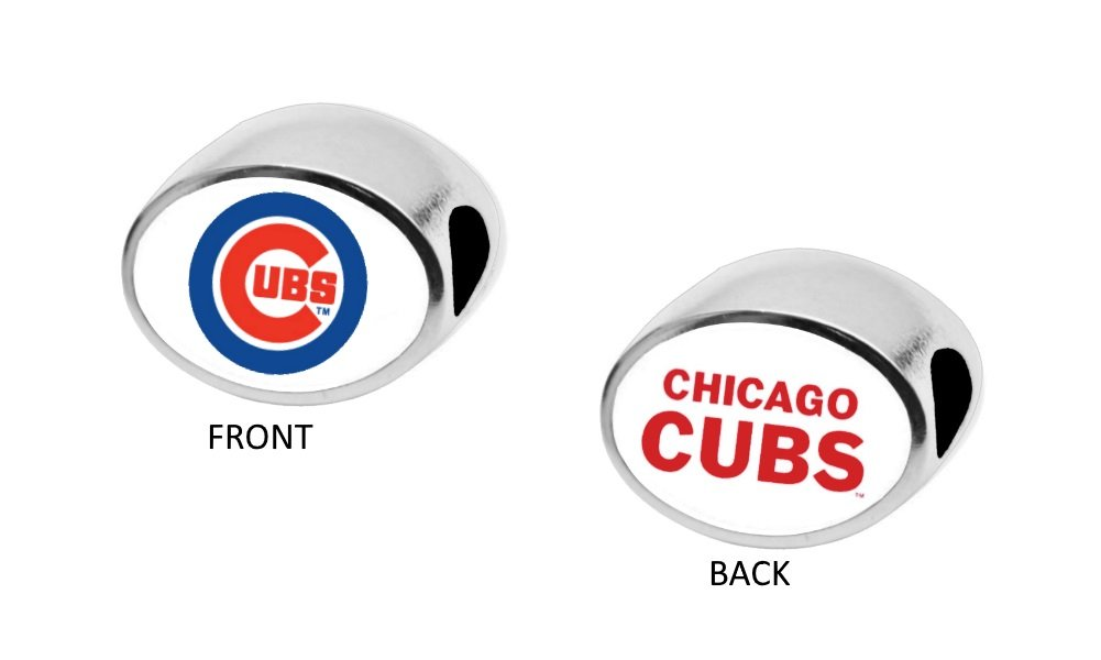 Chicago Cubs 2-Sided Bead Fits Most Bracelet Lines Including Pandora, Chamilia, Troll, Biagi, Zable, Kera, Personality, Reflections, Silverado and More Charm Bead Fits Pandora Style Bracelets
