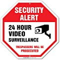 "Security Alert 24 Hour Video Surveillance Trespassers Will Be Prosecuted Sign - 12""x12"" - Octagon .040 Rust Free Aluminum - Made in USA - UV protected and Weatherproof"