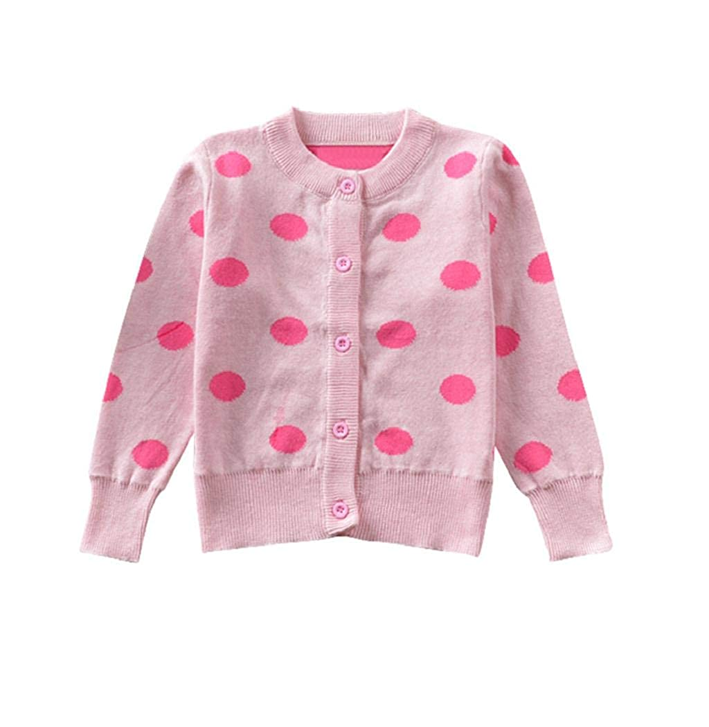 Taylorean Toddler Infant Girls Long Sleeves Knitted Dot Print Coat Cardigan Tops Outfits Clothes 0-4 Years Old Children Baby Warm Autumn Winter Comfy Lovely Outwear Sweater Costume