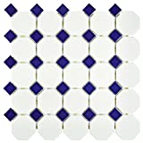SomerTile FXLMOWCB Retro Octagon Porcelain Floor and Wall Tile, 11.5'' x 11.5'', Matte White with Glossy Cobalt Dot