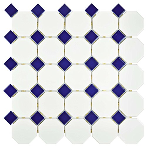SomerTile FXLMOWCB Retro Octagon Porcelain Floor and Wall Tile, 11.5'' x 11.5'', Matte White with Glossy Cobalt Dot by SOMERTILE