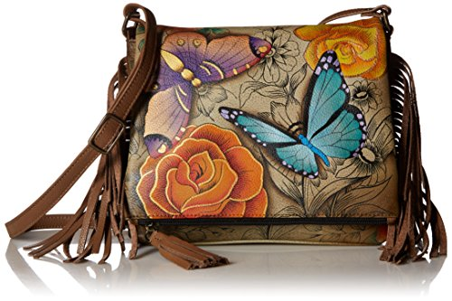 Anna by Anuschka Women's Genuine Leather Flap-Over Cross Body | Hand Painted Original Artwork | Floral Paradise Tan ()