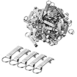 Personalized Wedding Party Favors Bottle Openers Keychain Wedding Gift, Silver, Pack of 50 with Organza Bags (Engraving, 50)