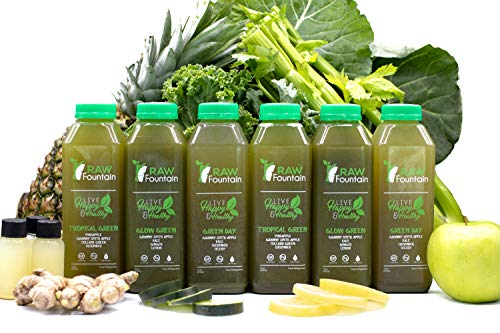 3 Day All Green Juice Cleanse by Raw Fountain - 100% Fresh Natural Organic Raw Green Juices -Give Your Body The Detox It Deserves! - 18 Bottles (16 fl oz) + 3 Bonus Ginger Shots (3 Day) by Raw Fountain   (Image #2)