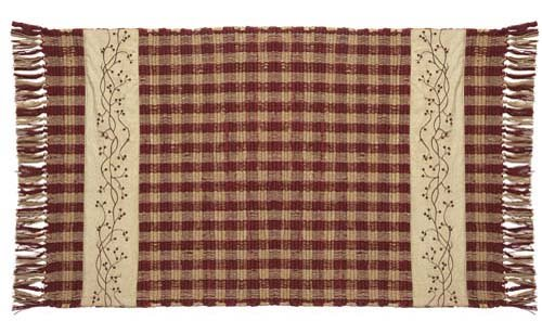 IHF Checker Berry Woven Rug 24 Inches by 42 - Berry Checker
