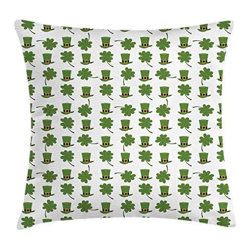 NBTJZT Clover Throw Pillow Cushion Cover, Irish Themed Cartoon Pattern Leprechaun Hat and Shamrock,Pillowcase 18X18 Inch, Olive Green Pale Orange Charcoal Grey