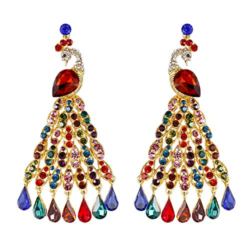 EVER FAITH Austrian Crystal Graceful Peacock Bird Chandelier Earrings Multicolor Gold-Tone